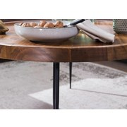 Couchtisch Holz mit Massiver Tischplatte, Sheesham/Schwarz - Sheeshamfarben/Schwarz, Design, Holz/Metall (75/75/39cm) - Livetastic