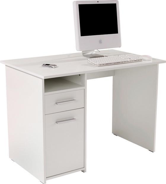 Íróasztal Palermo - Fehér, modern, Faalapú anyag (110/74/60cm)