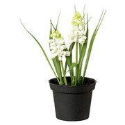 Kunstpflanze Muscari - Schwarz/Weiß, Basics, Kunststoff (17cm)