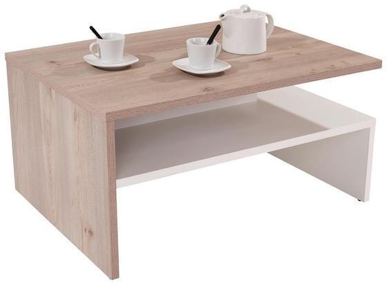Dohányzóasztal Laura - Tölgyfa/Fehér, modern, Faalapú anyag (90/42/60cm)