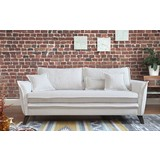 Dreisitzer-Sofa mit Kissen Charming Charlie, Webstoff - Türkis/Beige, Basics, Holz/Holzwerkstoff (180/85/90cm) - MID.YOU