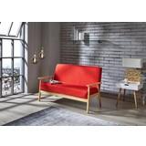 Loungesofa Hevea B: 134 cm Rot - Rot, MODERN, Holz/Kunststoff (134/77/64cm)