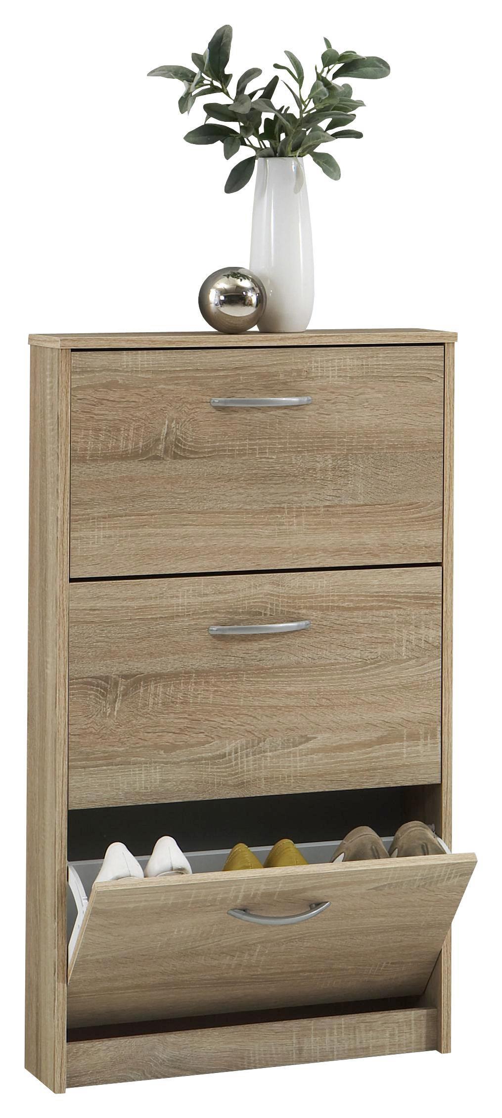 Cipősszekrény Step 3 - szilva színű/tölgy színű, modern, faanyagok (58,5/104,5/17cm)