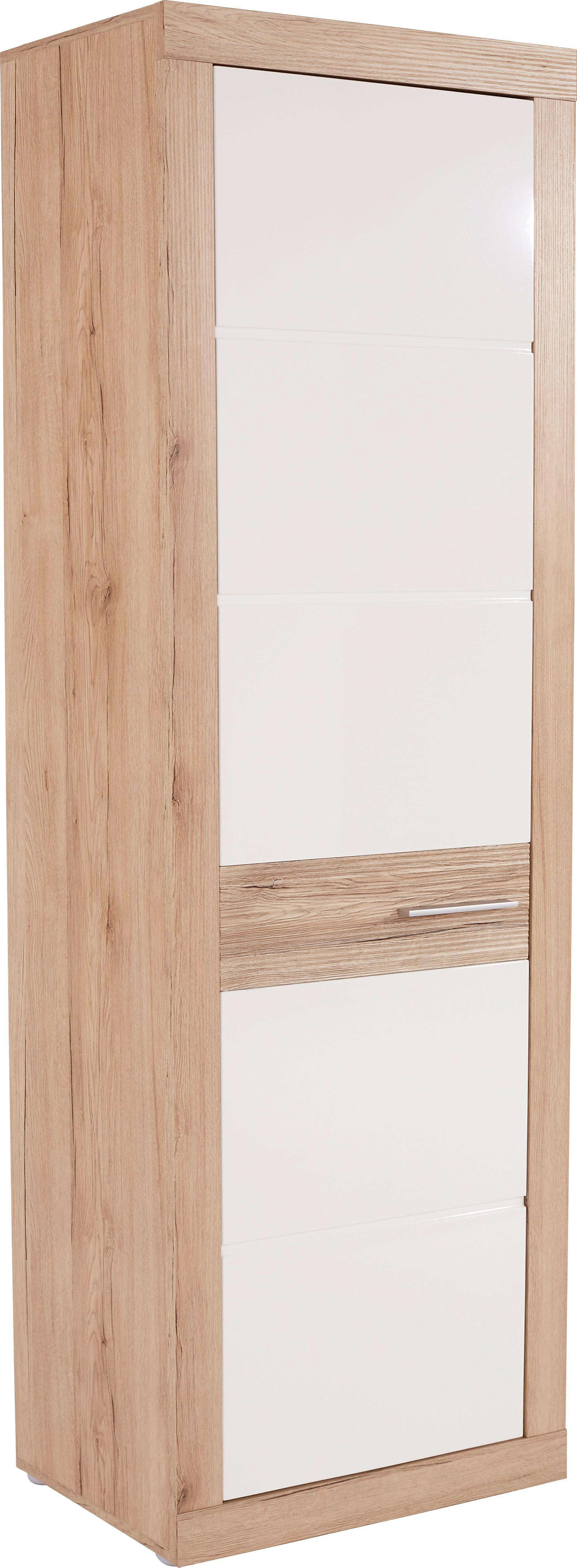 Szekrény Malta - tölgy színű/fehér, modern, faanyagok (63,9/196,6/34,9cm)