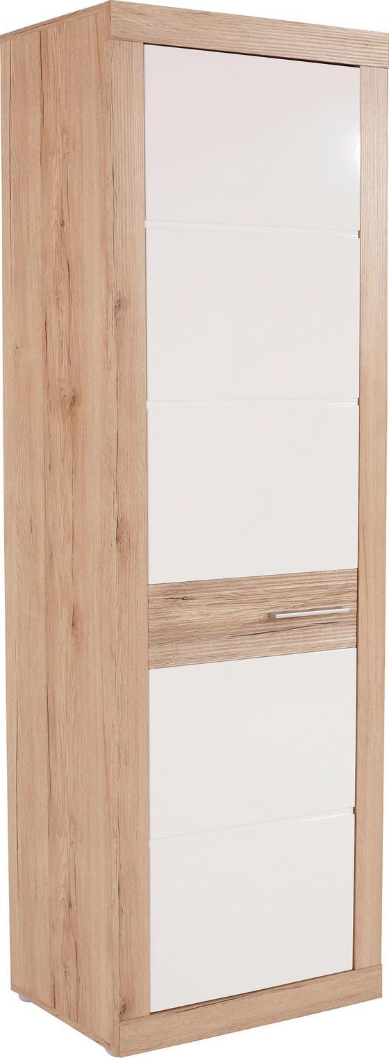 Szekrény Malta - Tölgyfa/Fehér, modern, Faalapú anyag (63,9/196,6/34,9cm)