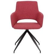 Stuhl Frank B: 66cm Leinen Rot - Rot/Schwarz, MODERN, Holz/Textil (66/86/67cm) - MID.YOU
