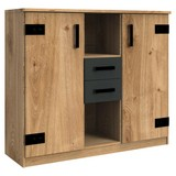 Kommode B 124cm Liverpool, Eiche Dekor/Graphit - Eichefarben/Graphitfarben, Design, Holzwerkstoff (124/105/41cm) - Livetastic