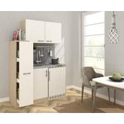 Miniküche B: 130 cm Weiß/Eiche - Edelstahlfarben/Eichefarben, MODERN, Holzwerkstoff/Metall (130cm) - MID.YOU