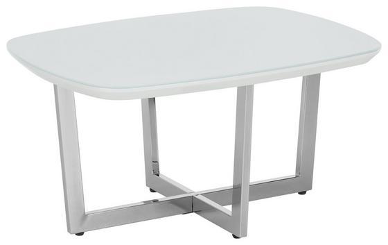 Konferenční Stolek Oprah - bílá/barvy chromu, Moderní, kov/dřevěný materiál (80/40/60cm) - Modern Living