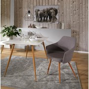 Stuhl Betty Hellgrau - Braun/Grau, MODERN, Textil/Metall (63.5/86/59cm) - Ombra