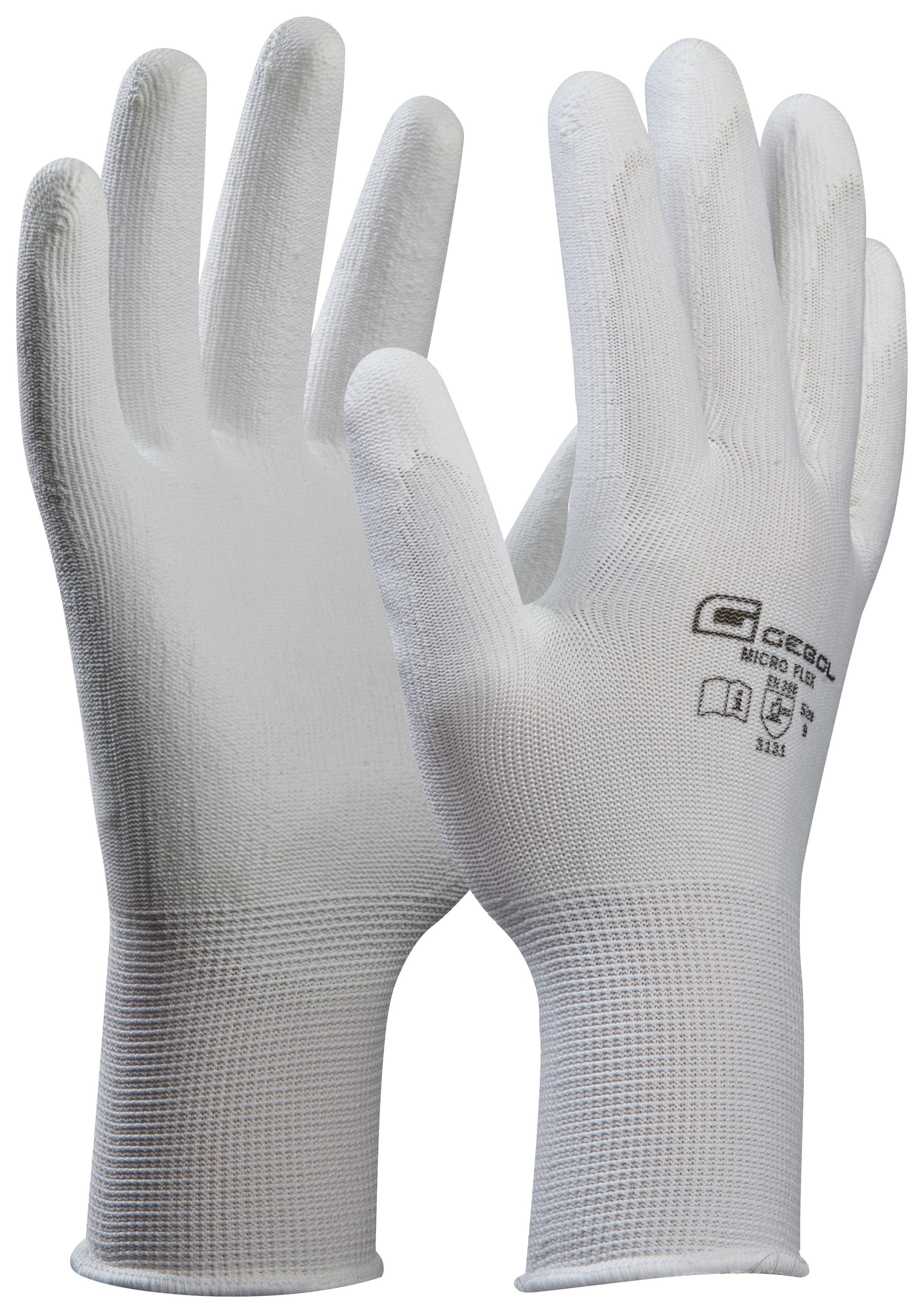 Kesztyű Mikro-flex - fehér, konvencionális, textil (9)