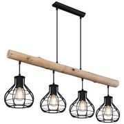 Led Hängeleuchte Clastra H: 120 cm 4-Flammig, Holz/Metall - Schwarz/Naturfarben, Basics, Holz/Metall (90/18/120cm) - Globo