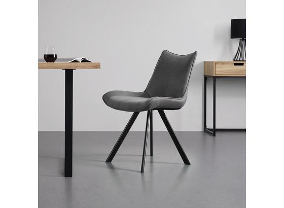 Jedálenská Stolička Melina - čierna/tmavosivá, Moderný, kov/textil (59/86/56cm) - Modern Living