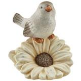 Dekovogel Albrik L/B/H: ca. 12/9/13cm - Weiß/Grau, KONVENTIONELL, Keramik (12/9/13cm) - Ombra