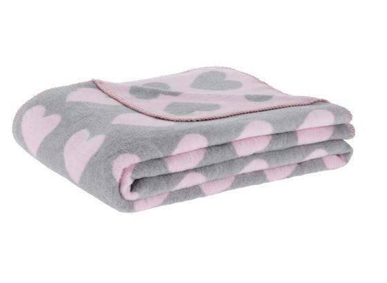 Mäkká Deka Hearts - sivá/ružová, Romantický / Vidiecky, textil (130/170cm) - Mömax modern living