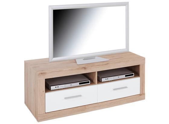 TV-Lowboard Malta B: 128 cm San Remo Eiche, Weiß - Eichefarben/Weiß, MODERN, Holz (128/50/42cm)