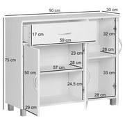 Sideboard B 90cm Jarry, Weiß - Weiß/Grau, KONVENTIONELL, Holzwerkstoff (90/75/30cm) - MID.YOU