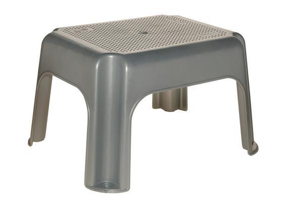 Tritthocker Silber - Silberfarben, KONVENTIONELL, Kunststoff (36,5/30/24cm)