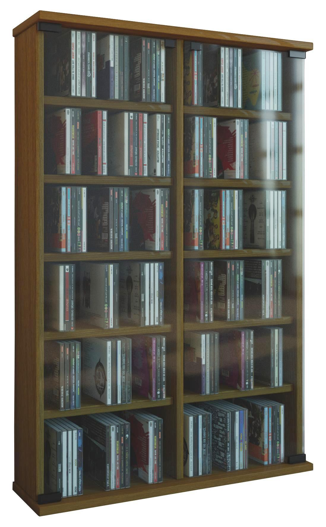 Eichefarbenes CD Regal mit Glastüren