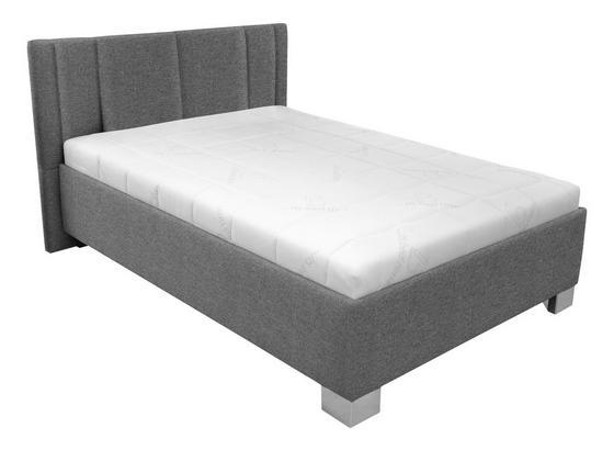 Čalouněná Postel Stilo 120x200 - šedá/bílá, dřevo/textil (214/149/97cm)