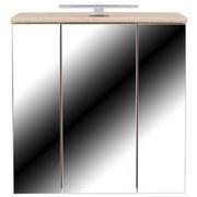 Spiegelschrank mit Led Mindi B: 68,8cm, Eiche Dekor - Eichefarben/Weiß, KONVENTIONELL, Glas/Holzwerkstoff (68,8/69,4/21cm)