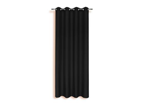 Ösenvorhang Isolde - Schwarz, KONVENTIONELL, Textil (140/245cm) - Ombra