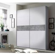 Schwebetürenschrank Starter B: 170 cm Weiß/Beton - Weiß/Grau, MODERN, Holzwerkstoff (170/195/59cm) - Ti`me