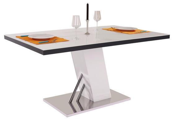 Étkezőasztal Metz 160 - Nemesacél/Fehér, modern, Faalapú anyag/Üveg (160/76/90cm)