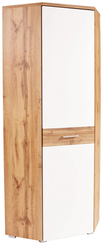 Sarokszekrény Space New - tölgy színű/fehér, modern, faanyagok (70/199/70cm)