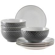 Desserttellerset & Schüssel Telde - Grau, Basics, Keramik - Mäser