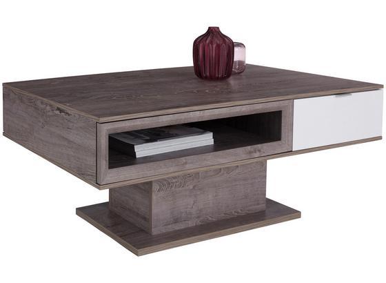 Konferenčný Stolík Nagos - farby dubu/biela, Moderný, kompozitné drevo (115/47,3/0cm)