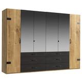 Drehtürenschrank Detroit B: 300 cm Eichefarben - Eichefarben/Graphitfarben, Basics, Holzwerkstoff (300/216/58cm)