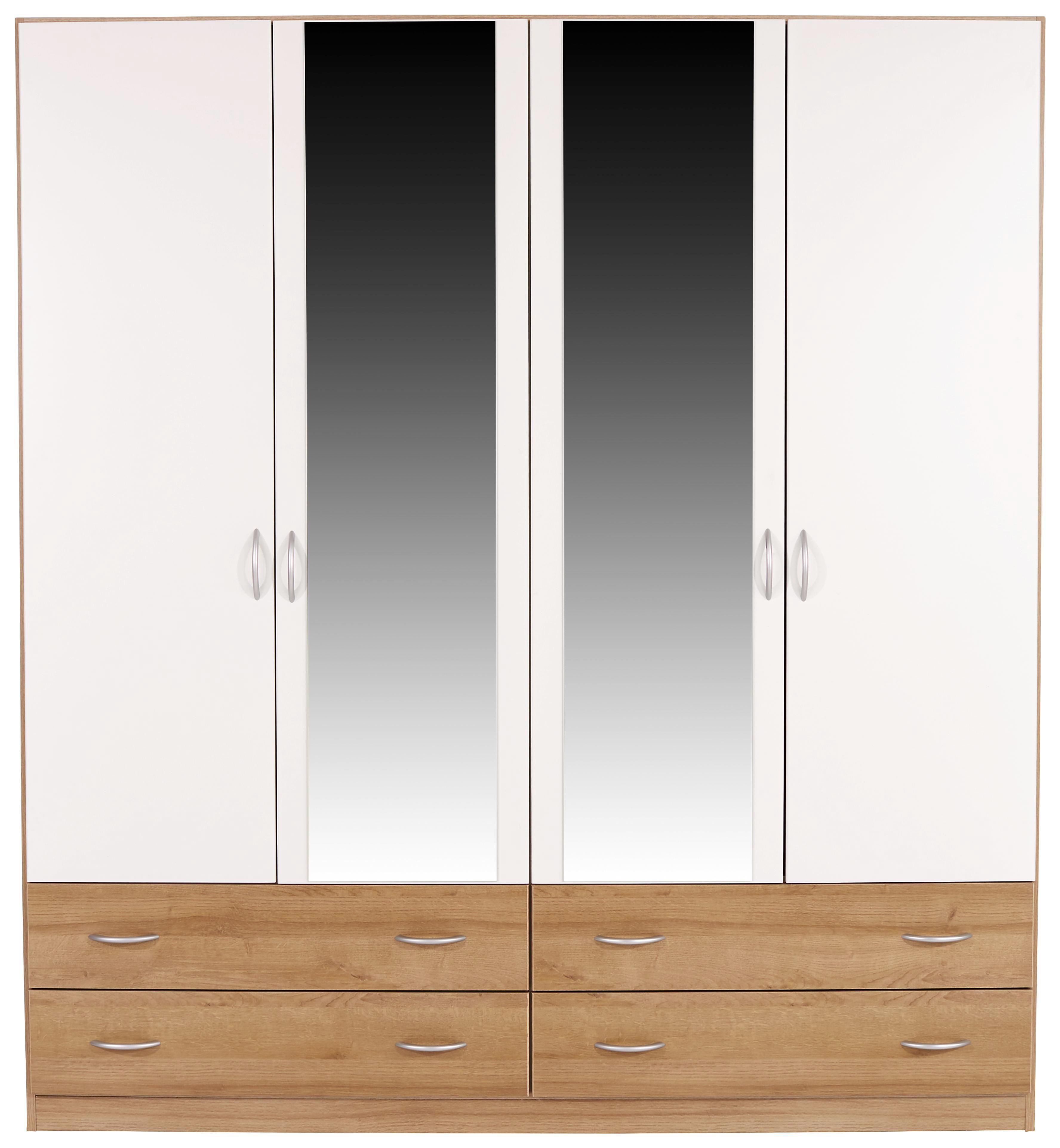 Ruhásszekrény Karo-extra - tölgy színű/fehér, konvencionális, faanyagok (181/197/54cm)