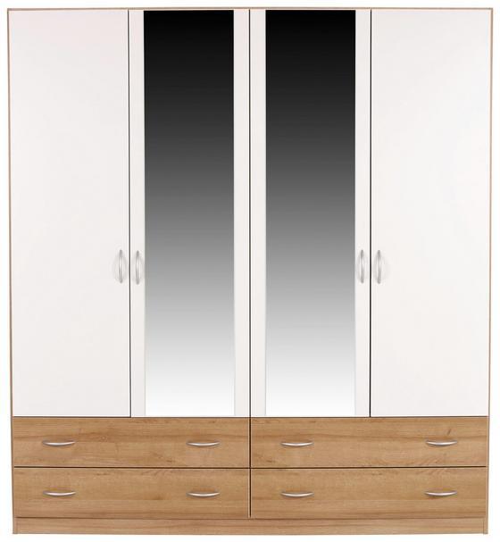 Ruhásszekrény Karo-extra - Tölgyfa/Fehér, konvencionális, Faalapú anyag (181/197/54cm)