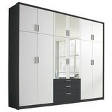 Drehtürenschrank mit Spiegel + Laden 275cm Hildesheim, Weiß - Weiß/Grau, Design, Holzwerkstoff (275/231/56cm) - MID.YOU