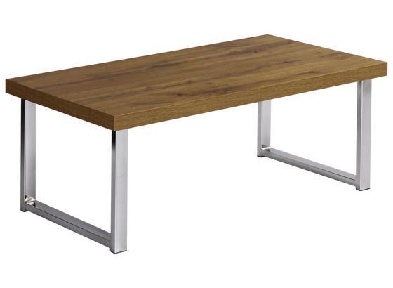 Couchtisch Holz mit Ablage Liverpool, Wotan Eiche Dekor - Chromfarben/Eichefarben, MODERN, Holz/Metall (100/38/50cm)