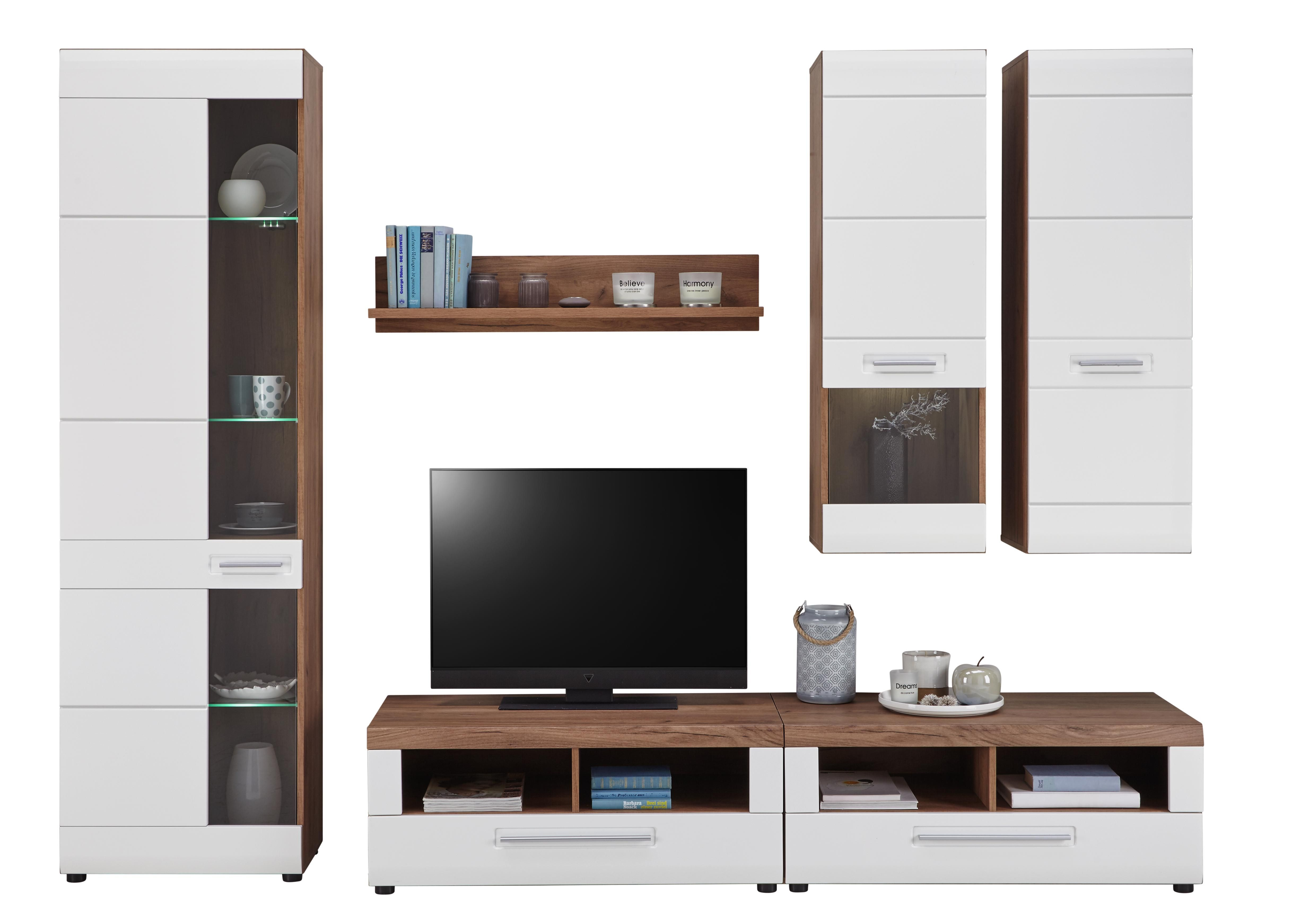 Obývací Stěna Avensis 1 - bílá/barvy dubu, Moderní, kompozitní dřevo (260/206/50cm) - Luca Bessoni