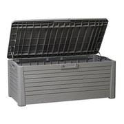 Kissenbox Holzoptik Hellgrau, 550 Liter - Hellgrau, Basics, Kunststoff/Metall (148/72/60cm)