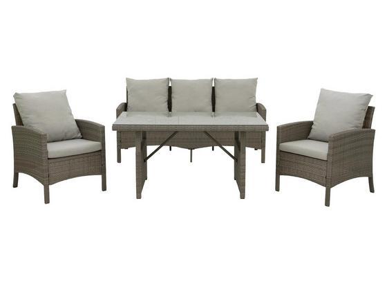 Loungegarnitur Piazza 4-Teilig inkl. Kissen - Grau, MODERN, Glas/Kunststoff