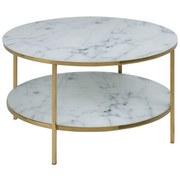 Couchtisch mit Glasplatte + Ablagefach Alisma Marmor Dekor - Goldfarben/Weiß, Trend, Glas/Metall (80/80/45cm) - Carryhome