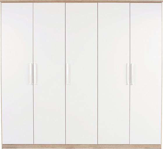 Kleiderschrank Wien 226cm - Eichefarben/Weiß, KONVENTIONELL, Holzwerkstoff (226/212/56cm)