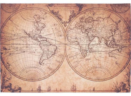 Koberec Tkaný Na Plocho World Map - hnědá/béžová, Romantický / Rustikální, textil (120/180cm) - Mömax modern living