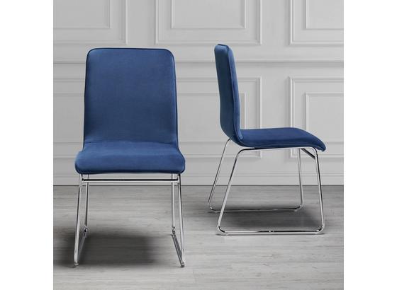 Stolička Vinzenz Modrá - modrá/chrómová, Moderný, kov/drevo (46/89/53cm) - Mömax modern living