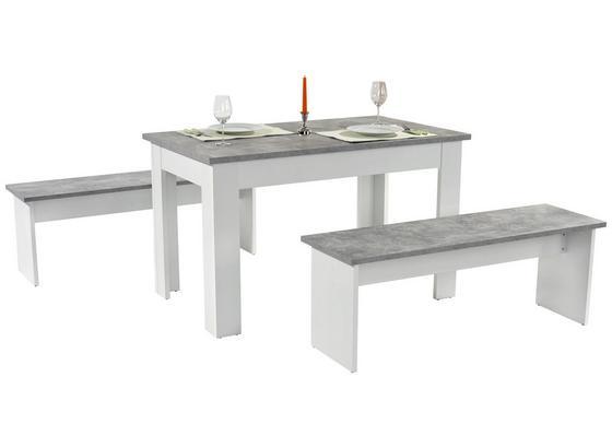 Tischgruppe Paris - Hellgrau/Weiß, KONVENTIONELL, Holzwerkstoff (137/77/75cm)