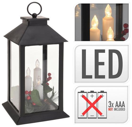 Laterne mit LED-kerzen - Schwarz, MODERN, Kunststoff