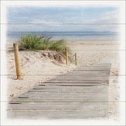 Keilrahmenbild Steg Zum Strand - Blau/Beige, MODERN, Holzwerkstoff (40/40/2cm)