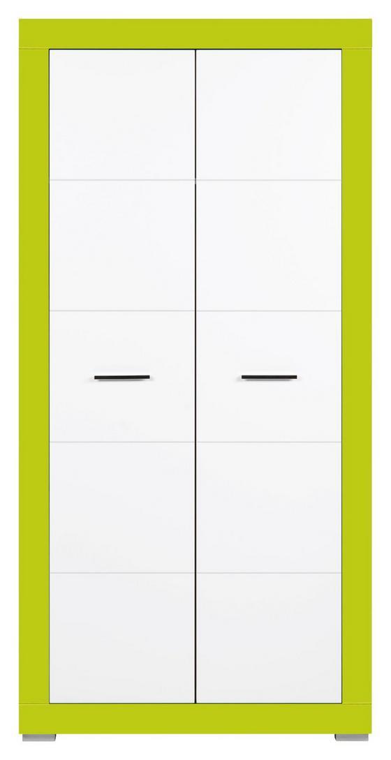 Skříň Derby - bílá/zelená, Moderní, dřevěný materiál (96/196/56cm)