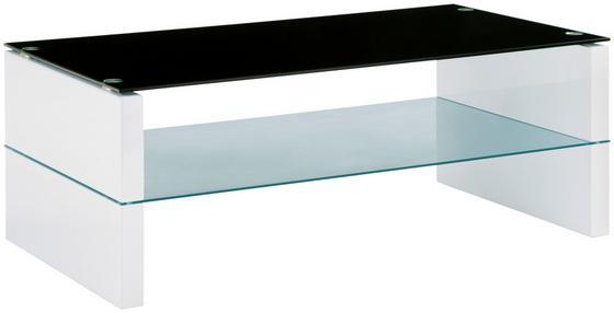 Dohányzóasztal Magasfényű - fehér, modern, üveg/fa (110/60/42cm)