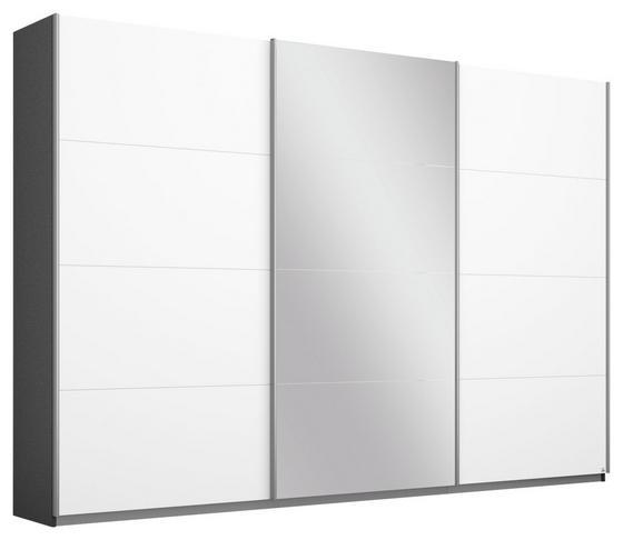 Schwebetürenschrank Belluno 271 cm Grau/Weiß/sp. - Dunkelgrau/Weiß, MODERN, Holzwerkstoff (271/210/62cm)