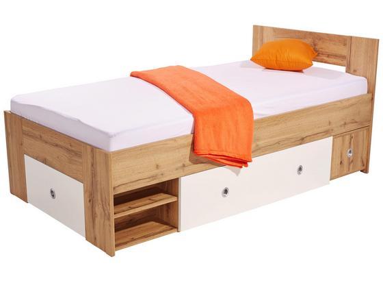 Posteľ Azurro 90 - biela/dub sonoma, Moderný, kompozitné drevo (204/75/95cm)